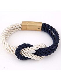 Personalized White & Dark Blue Weave Simple Design