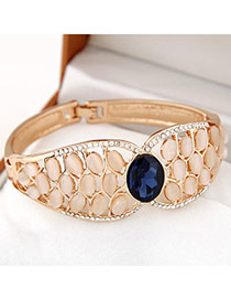 High-quality Navy Blue Diamond Decorated Oval Shape Design Alloy Fashion Bangles