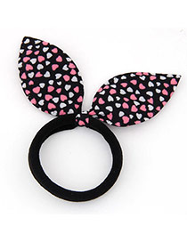 Lovely Black Heart Pattern Decorated Bowknot Shape Design Fabric Hair band hair hoop