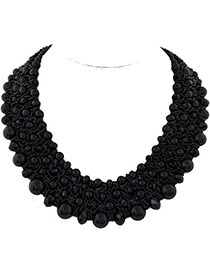 Fashion Black Pearl Decorated Multilayer Weave Design