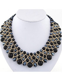 Fashion Black & Gray Pearl Decorated Multilayer Weave Design