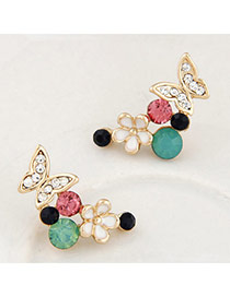 Brilliant Multicolor Diamond Decorated Flower & Butterfly Shape Design