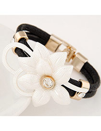 Elegant Black Flower Decorated Double Layer Design Leather Korean Fashion Bracelet
