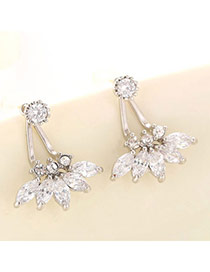 Boutique Silver Color Diamond Decorated Flower Design  Cuprum Fashion earrings