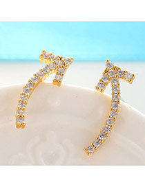 Delicate Champagne Gold Diamond Decorated Arrow Shape Design  Cuprum Fashion earrings