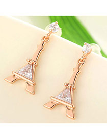 Fashion Rose Gold Eiffel Tower Shape Decorated Simple Design  Cuprum Stud Earrings