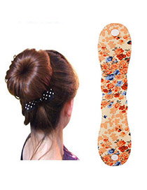 Pretty Orange Flower Pattern Hairdisk Design  Fabric Beauty tools