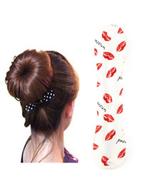 Favorite White Lips Pattern Hairdisk Design  Fabric Beauty tools