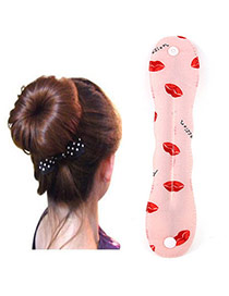 Favorite Pink Lips Pattern Hairdisk Design  Fabric Beauty tools
