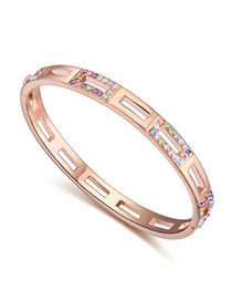 Upscale Rose Gold & Multicolor Diamond Decorated Hollow Out Design  Alloy Crystal Bracelets