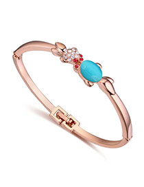 Cute Rose Gold & Sky Blue Diamond Decorated Fish Shape Design  Alloy Crystal Bracelets