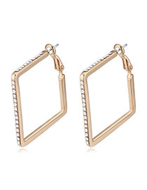 Vogue Champagne Gold & White Diamond Decorated Square Shape Design  Alloy Crystal Earrings