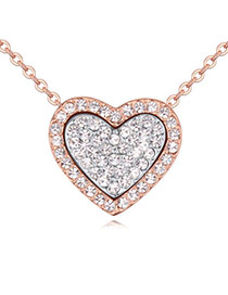 Classic Rose Gold & White Diamond Decorated Heart Shape Pendant Design  Alloy Crystal Necklaces