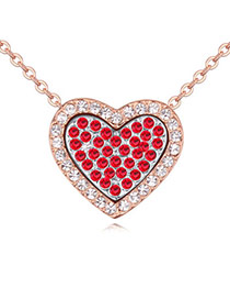 Classic Rose Gold & Light Red Diamond Decorated Heart Shape Pendant Design  Alloy Crystal Necklaces
