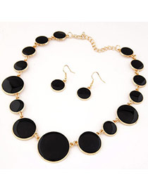 Fashion Black Water Drop Diamond Decorated Color Matching Jewelry Sets