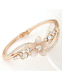Concise Beige Diamond Decorated Flower Design  Alloy Fashion Bangles