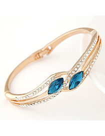 Elegant Navy Blue Diamond Decorated Oval Shape Design  Alloy Fashion Bangles