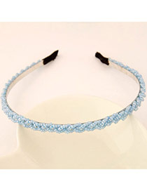 Pretty Light Blue Beads Decorated Weave Design  Alloy Hair band hair hoop