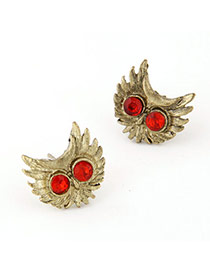 Occident Red Diamond Decorated Owl Shape Design  Alloy Stud Earrings