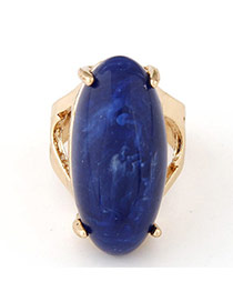 Fashion Blue & Gold Color Gemstone Decorated Oval Shape Design Alloy Korean Rings