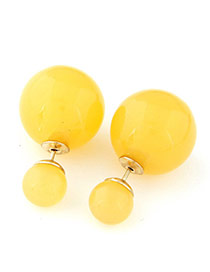 Candy Color  Yellow Round Shape Decorated Simple Design  Alloy Stud Earrings