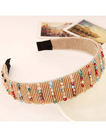 Joker Multicolor Beads Decorated Simple Design Imitation Crystal Hair band hair hoop