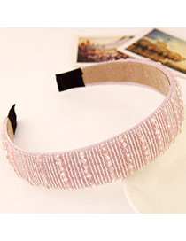 Joker Pink Beads Decorated Simple Design Imitation Crystal Hair band hair hoop