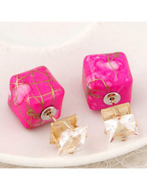 Luxury Plum Red Gemstone Decorated Square Shape Design Alloy Stud Earrings