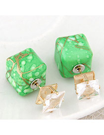 Luxury Green Gemstone Decorated Square Shape Design Alloy Stud Earrings