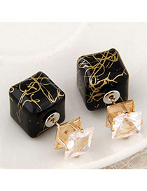 Luxury Black Gemstone Decorated Square Shape Design Alloy Stud Earrings