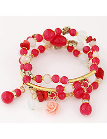 Candy Color Plum Red Beads Decorated Multilayer Design Alloy Korean Fashion Bracelet