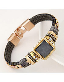 Joker Gun Black Diamond Decorated Square Shape Design Alloy Korean Fashion Bracelet