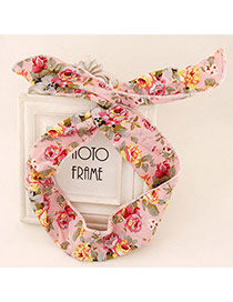 Sweet Pink Flower Pattern Simple Design Fabric Hair band hair hoop