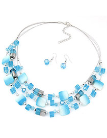 Bohemia Blue Gemstone Decorated Square Shape Multilayer Design  Alloy Jewelry Sets