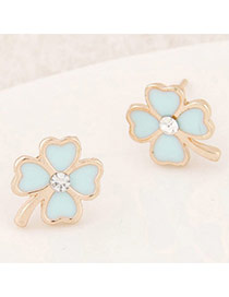 Sweet Light Blue Diamond Decorated Clover Shape Design  Alloy Stud Earrings