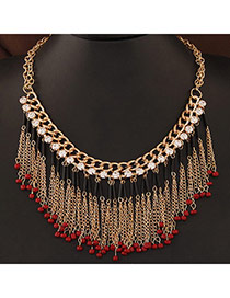 Bohemia Red Beads Decorated Tassel Design Alloy Bib Necklaces