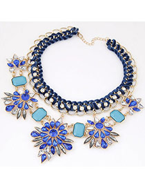 Luxury Dark Blue Flower Shape Decorated Weave Design Alloy Bib Necklaces