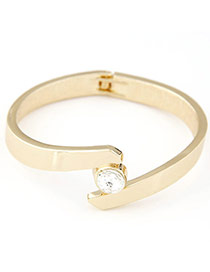 Temperament White Diamond Decorated Simple Design  Alloy Fashion Bangles