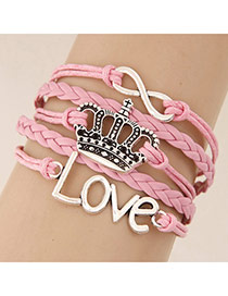 Retro Pink Metal Crown Shape Decorated Multilayer Design