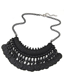 Ethnic Black Coins Tassel Decorated Fan Shape Design