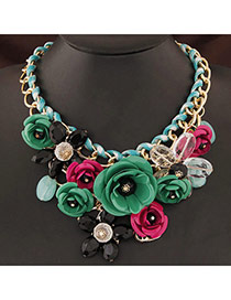 Extravagant Green&black Flower Pendant Decorated Short Chain Design