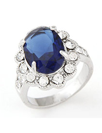 Personality Dark Blue Gemstone Decorated Simple Design  Alloy Korean Rings