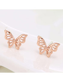 Exquisite Rose Gold Butterfly Shape Simple Design  Cuprum Stud Earrings