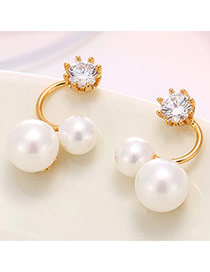 Exquisite Gold Color Pearl Decorated Simple Design (anti-allergy)  Cuprum Stud Earrings