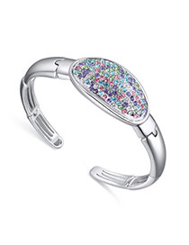 Luxurious Multicolor Diamond Decorated Simple Design Crystal+alloy Crystal Bracelets