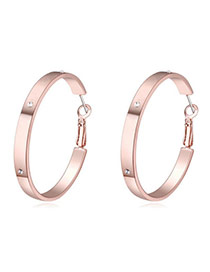 Luxurious Rose Gold Diamond Decorated Simple Design  Crystal%2balloy Crystal Earrings