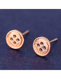 Korean Rose Gold Sweet Button Shape Simple Design Cuprum Stud Earrings