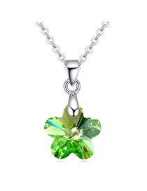 Exquisite Olive Wintersweet Shape Simple Design  Cuprum Crystal Necklaces