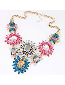Exquisite Multicolor Gemstone Decorated Flower Shape Design Alloy Rosin Bib Necklaces