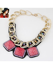 Occident Watermelon Red Square Gemstone Decorated Short Chain Design